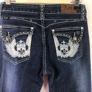 Adiktd Bootcut Embroidered Flap Pocket Jeans